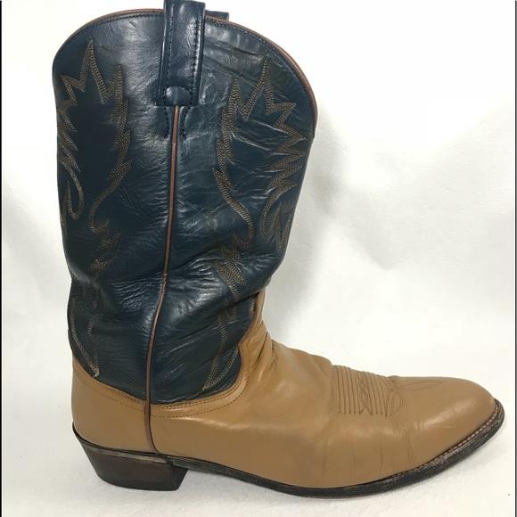 917b831c7b4 Vintage Dan Post Tan and Blue Men's Cowboy boots
